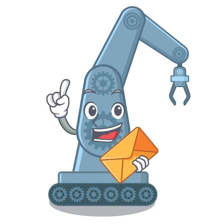 With envelope mechatronic robotic arm in mascot shape vector illustration