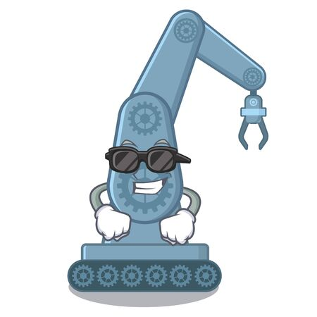 Super cool mechatronic robotic arm in mascot shape vector illustration