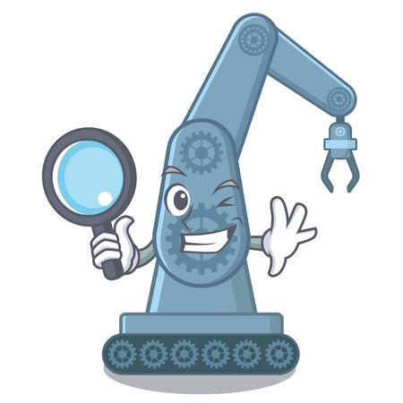 Detective mechatronic robotic arm in mascot shape vector illustration Çizim