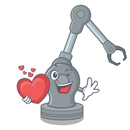 With heart robotic arm machine in the mascot Illustration