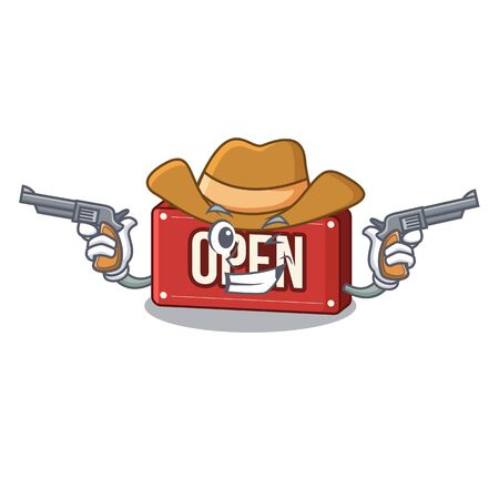 Cowboy open sign in the mascot shape vector illustration