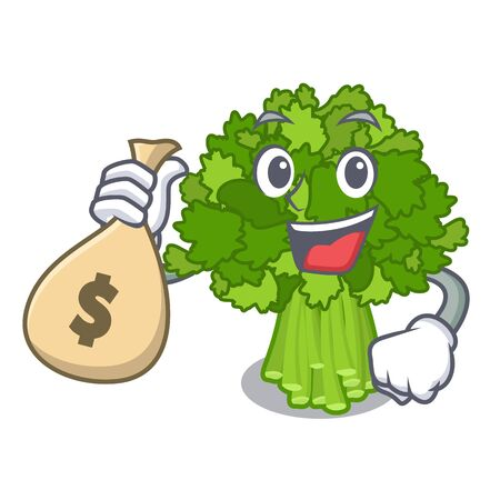 With money bag broccoli rabe isolated in the character Ilustração