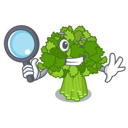 Detective broccoli rabe in the cartoon shape Ilustração