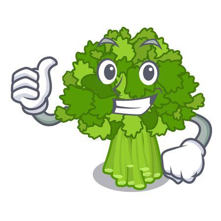 Thumbs up broccoli rabe in the cartoon shape Ilustração