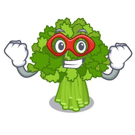 Super hero broccoli rabe in the cartoon shape Ilustração