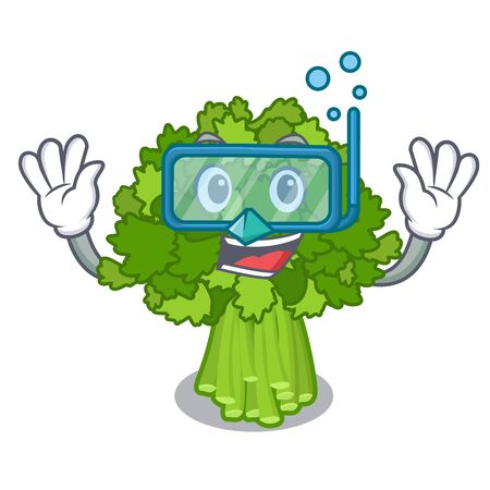 Diving broccoli rabe in the cartoon shape Illustration