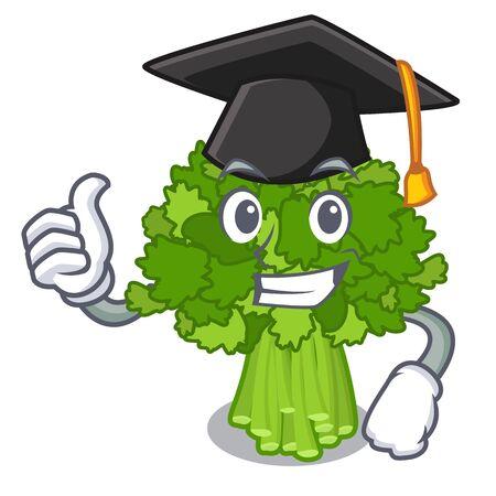 Graduation broccoli rabe in the cartoon shape