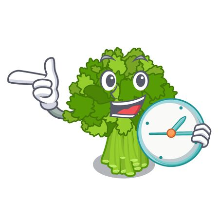 With clock broccoli rabe in the cartoon shape
