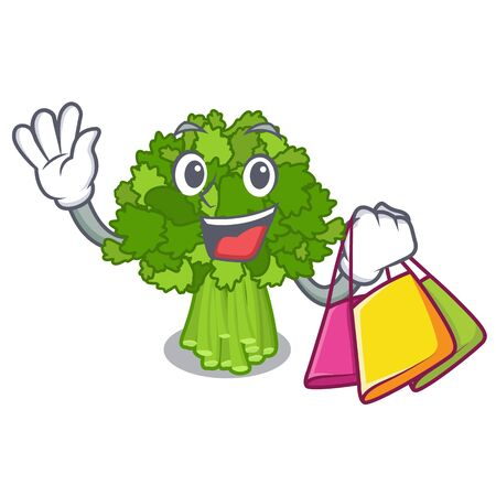 Shopping broccoli rabe in the cartoon shape Ilustração