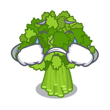 Crying rabe broccoli in vegetable mascot basket