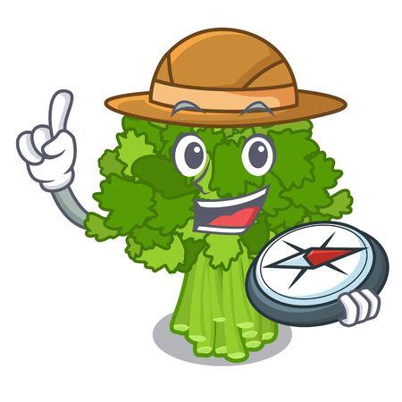 Explorer rabe broccoli in vegetable mascot basket vector illustration Ilustração