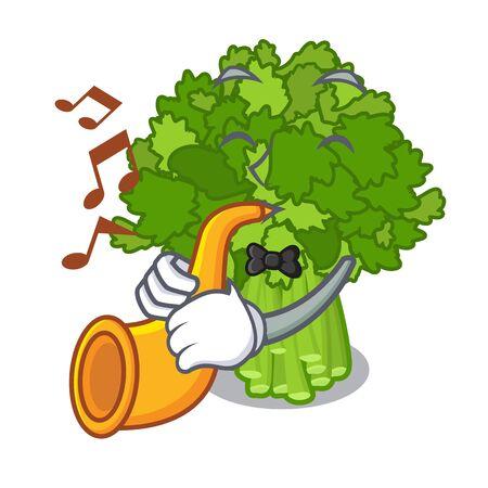 With trumpet rabe broccoli in vegetable mascot basket Ilustração