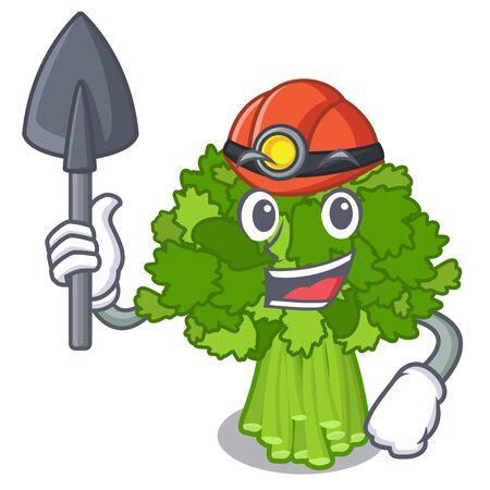 Miner rabe broccoli in vegetable mascot basket Ilustração