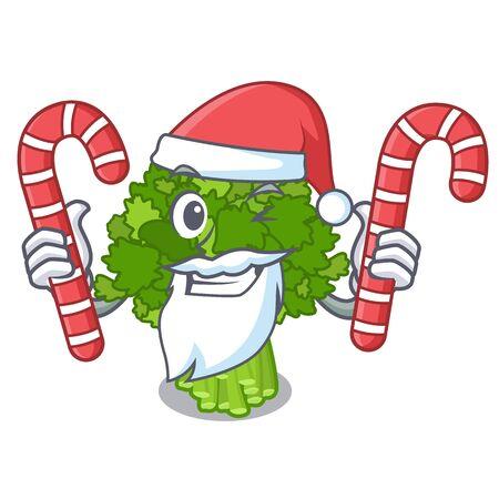 Santa with candy broccoli rabe above cartoon plate