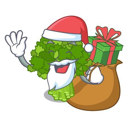 Santa with gift broccoli rabe above cartoon plate