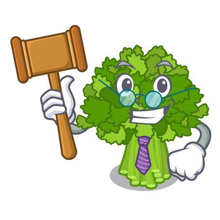 Judge broccoli rabe above cartoon plate Ilustração
