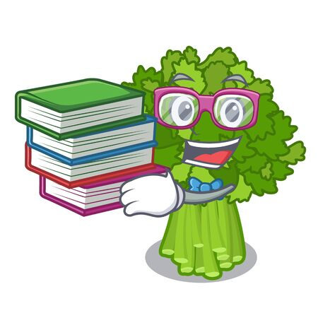 Student with book broccoli rabe above cartoon plate