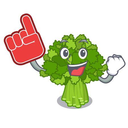 Foam finger broccoli rabe above cartoon plate