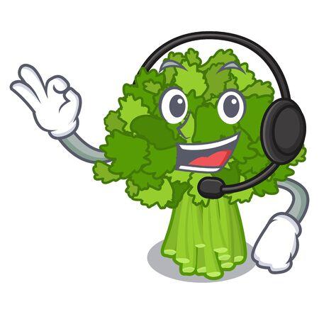 With headphone broccoli rabe above cartoon plate
