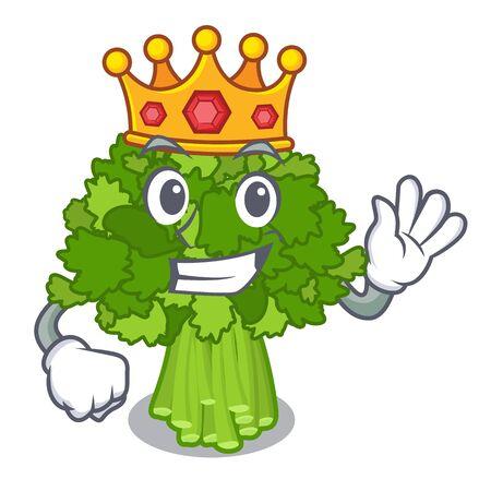 King broccoli rabe above cartoon plate Ilustração