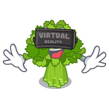 Virtual reality rabe broccoli in vegetable mascot basket