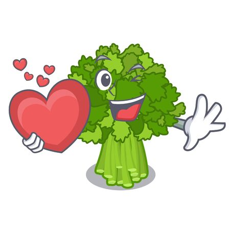 With heart rabe broccoli in vegetable mascot basket