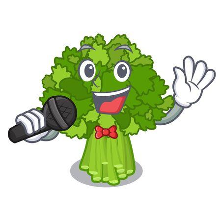 Singing rabe broccoli in vegetable mascot basket