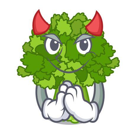 Devil rabe broccoli in vegetable mascot basket