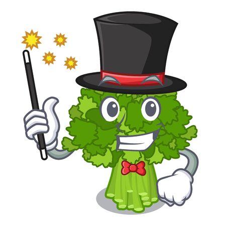 Magician broccoli rabe above cartoon plate Ilustração