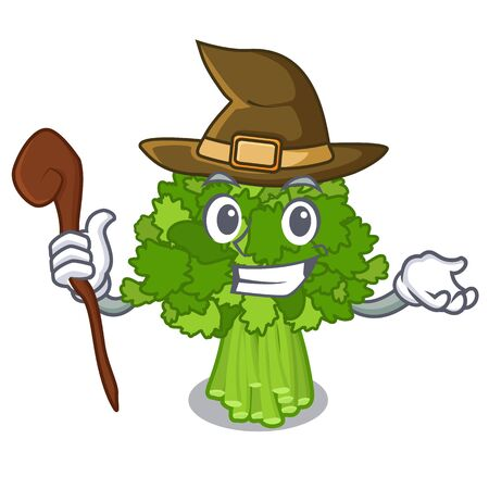 Witch rabe broccoli in vegetable mascot basket Ilustração