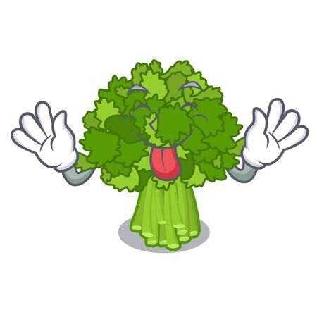 Tongue out broccoli rabe above cartoon plate Ilustração