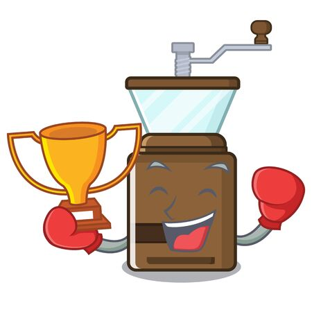 Boxing winner coffe grinder toys in cartoon shape vector illustration Çizim
