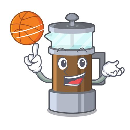 With basketball french press isolated with the character