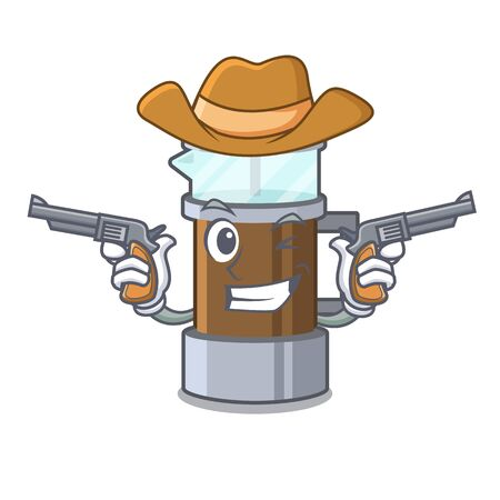 Cowboy french press isolated with the character Illustration