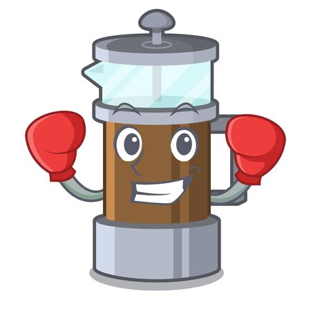 Boxing french press isolated with the character Illustration