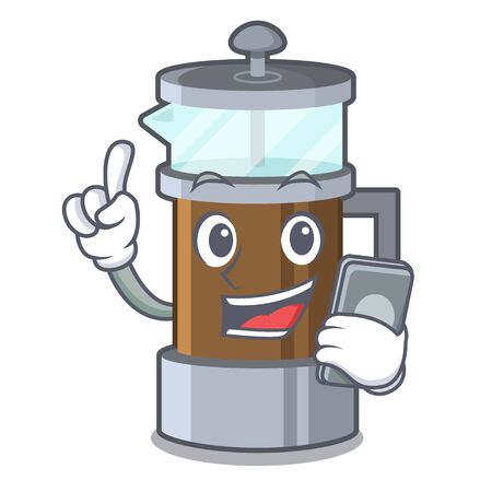 With phone french press isolated with the character Illustration