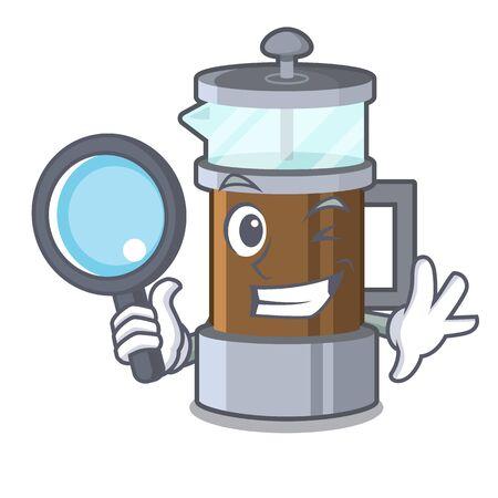 Detective french press in the mascot shape Ilustração