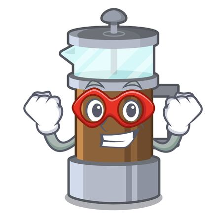 Super hero french press in the mascot shape Imagens - 125319610