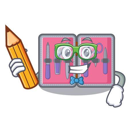 Student manicure kit above cartoon makeup table vector illustration 일러스트