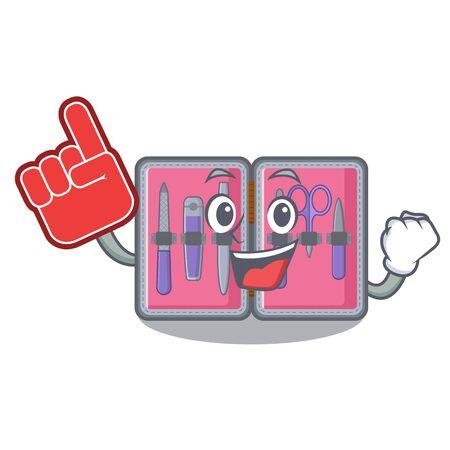 Foam finger manicure kit in the character shape vector illustartion Illustration