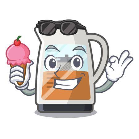 With ice cream tea maker in the cartoon shape
