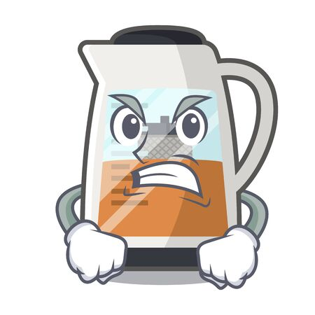 Angry tea maker is served in cartoon bottle vector illustration