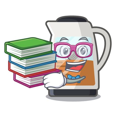 Student with book tea maker in the character refrigerators