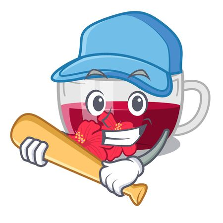 Playing baseball habiscus tea isolated in the mascot