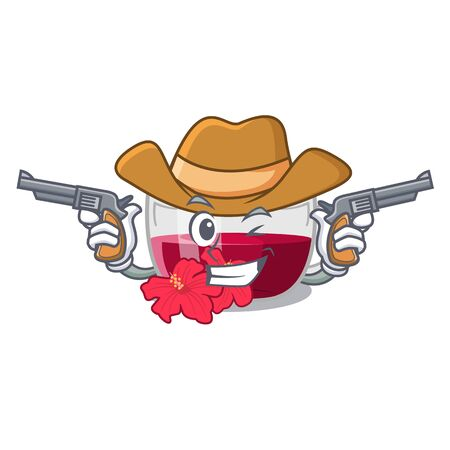 Cowboy habiscus tea isolated in the mascot