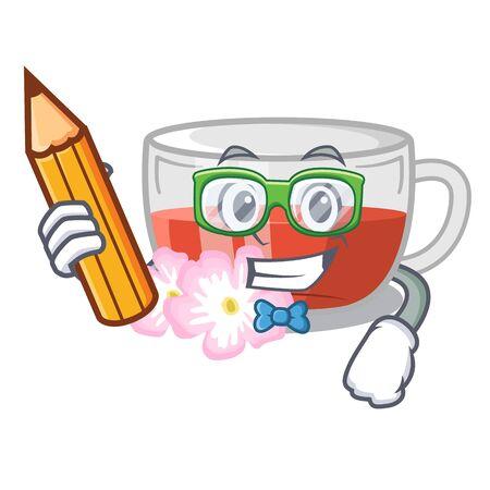 Student rosehip tea in a cartoon fridge vector illustration