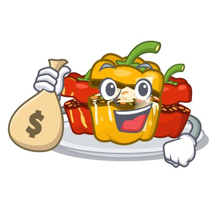 With money bag stuffed pepper isolated with the cartoon