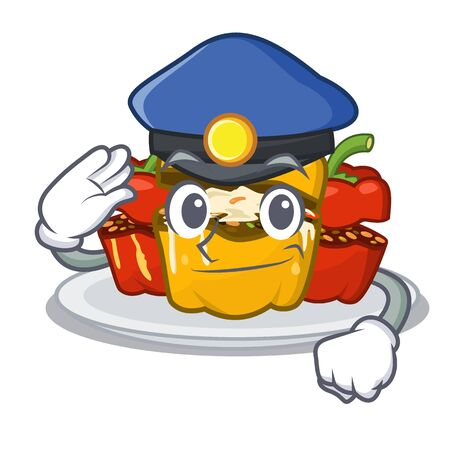 Police stuffed pepper isolated with the cartoon