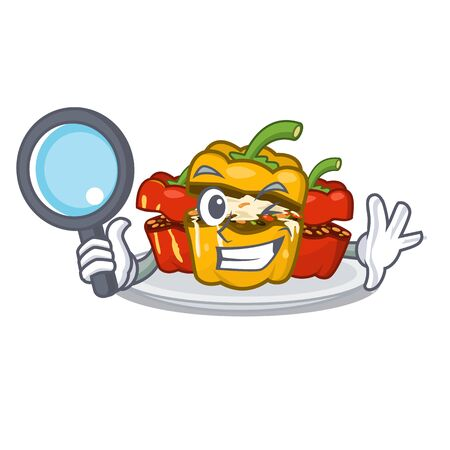Detective stuffed pepper is served cartoon plate