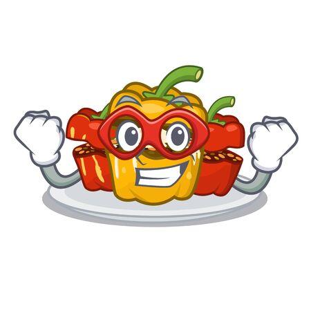 Super hero stuffed pepper is served cartoon plate
